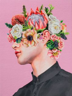 """Saatchi Art is pleased to offer the Art Print, """"Flower Face by Oleksandr Balbyshev. Archival inks on N/A. Art And Illustration, Andy Warhol Werke, Collage Kunst, Surealism Art, Face Collage, Abstract Face Art, A Level Art, Art Drawings Sketches, Of Wallpaper"""