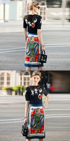 Fashion embroidery t-shirt and beading print package hip skirts 2 piece skirt suits new brand runway women sprint summer suits