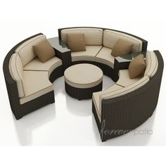 Entertain flawlessly with this 6 piece wicker sectional sofa from AllBackyardFun! Each curved outdoor sectional features plush Sunbrella seats and a durable wicker frame. Condo Interior Design, House Furniture Design, Patio Furniture Sets, Outdoor Furniture, Condo Design, Furniture Online, Outdoor Decor, Curved Sectional, Outdoor Sectional