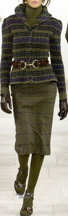 Ralph Lauren Loden Green & Plum Fair Isle Sweater and Plaid Skirt ~ Love (but with boots instead)
