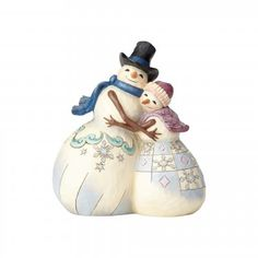 Hugs Make Happiness-Snowman Couple Hugging Figurine