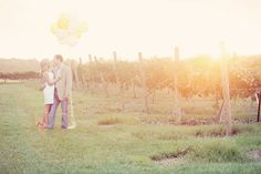 Vineyard and balloons - engagement shoot