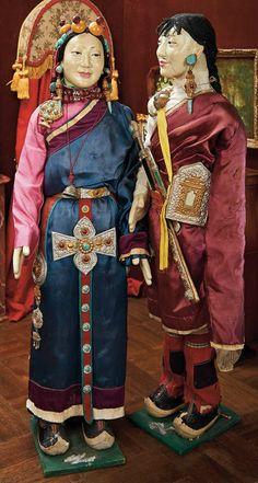 Lot: 377. Grand Pair of Papier-Mache Dolls in Original Traditional Khampa Costumes