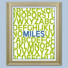 Alphabet Name Poster Personalize Nursery Decor