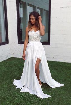 white chiffon prom dresses 2017, elegant party dresses with lace, fancy lace prom party dresses, v-neck evening dresses