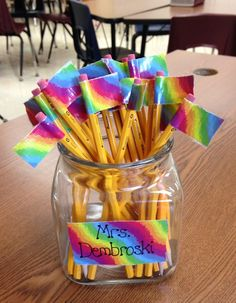 Pencil Flags - no question of who they belong to!