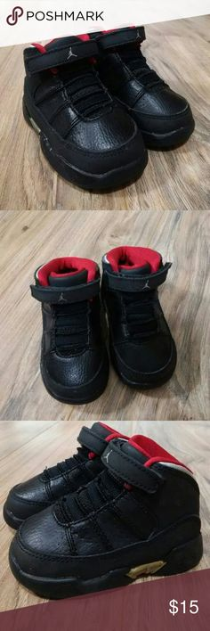 Baby Jordan's size 4C Nine Point Fives. Gently worn. There is no rips, or pulls. Items come from a SMOKE & PET free home. Happy Poshing to all my lovly people's.. Jordan Shoes Sneakers