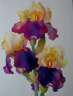 Nel's Everyday Painting: Lavender and Yellow Iris Watercolor - SOLD