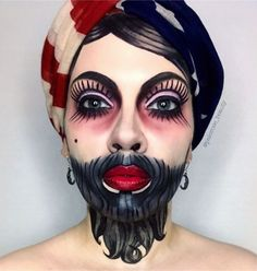 Bearded lady freakshow circus traditional tattoo – coiffures et barbe hommes Costume Halloween, Creepy Halloween Makeup, Halloween Circus, Halloween Makeup Looks, Halloween Kostüm, Halloween Tutorial, Vintage Halloween Makeup, Meme Costume, Costume Makeup