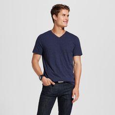 Men's V-Neck T-Shirt Navy (Blue) Voyage L - Mossimo Supply Co.