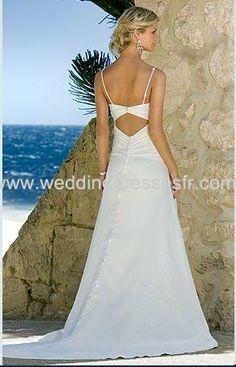 A-ligne fines bretelles train chapelle satiné & mousseline Robe de mariée - €103.33 : WeddingDressesFR.com, Acheter des robes de mariée, rob...