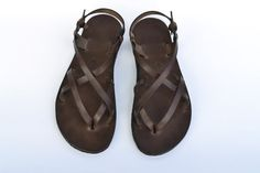 Leather sandals women brown sandals barefoot by LabooLeather