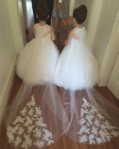 bfa1260c362 2016 New Cheap Flower Girls Dresses For Weddings Lace Illusion White Jewel  Neck Sweep Train Party Birthday Dress Children Girl Pageant Gowns