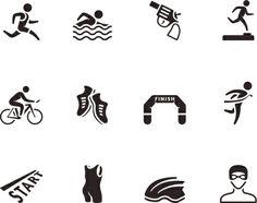 Bw Icons Triathlon Vector Art 187844596