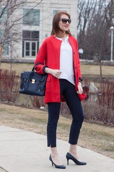 Elena rocks red Zara coat with white and navy accents. Pumps: Michael Kors, Bag: 3.1 Philip Lipm Pashli. More on the blog: http://redlipstickoptional.com/2016/03/25/red-spring-coat