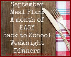 Free Printable September Meal Plan