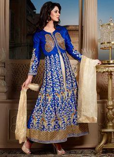 Scintillating Blue Raw Silk Long Anarkali Suit