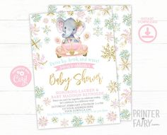 Drive By Elephant Baby Shower Invitation Editable Drive By | Etsy Baby Girl Invitations, Digital Invitations, Birthday Invitations, Army Birthday Parties, Adoption Certificate, Adoption Party, Elephant Baby, Etsy, Anniversary Party Invitations