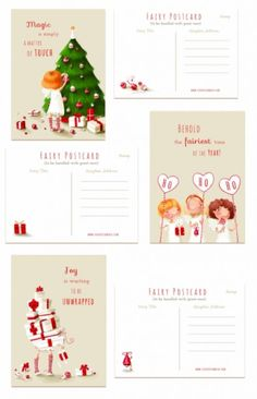 Christmas postcard set - Fairies & Co Cute Love Wallpapers, Good Day Quotes, December Daily, Holiday Postcards, Cute Illustration, Greeting Cards, Fairy, Holiday Decor, Drawings