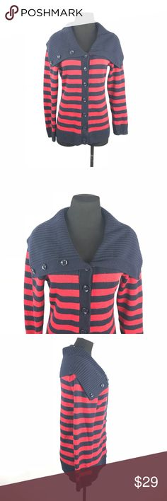 Banana republic striped sweater Ice thick knit sweater can be worn button up or half way in good condition no stain or holes size large.     FYI 📌📌📌📌📌 Things to keep in mind when shopping my closet  ✔️  all item come from a smoke free pet free clean home ✔️ all items shipped same day or next day unless its Friday orders will go out Monday  ✔️ open to offers I do not use the private offer system  ✔️ discounts on bundles  ✔️posh ambassador Banana Republic Sweaters Cardigans