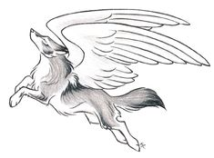Mystical/Fantasy Leaping Wolf Drawing with Wings tattoo