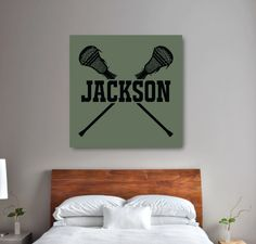 Show off your love for yoursport with this lacrossethemed canvas, which we will personalize with your monogram!You can customize this canvas with any colors from our palette or order it in the green and black color combo shown. This custom wall art is the perfect bedroom decor for any boy or teen lacrosse player.