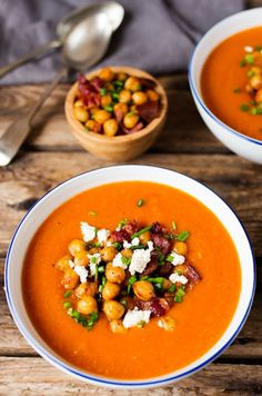 Spicy Lentil Soup with Smoky Chickpeas, Crispy Bacon and Creamy Feta.   http://Ideahacks.com