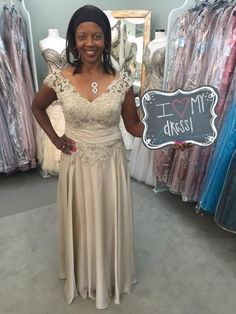 90122c87387 Cheril looks beautiful in this Latte colored lace  amp  chiffon gown by  Jade by Jasmine · Mother Of The Bride ...