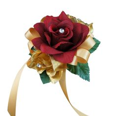 Apple Red Gold rose wrist corsage