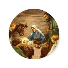 Vintage Religious Christmas, Nativity, Baby Jesus Stickers