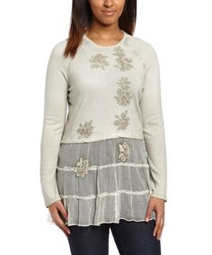 Love this Pumice Embroidered Silk Layered Tunic by Saga on #zulily! #zulilyfinds