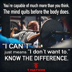That is the difference between an average body and a great body as long as everything else is on point. Turn the cant and I don't want to , into I can and I will. When you do that I'm sure you will see much more progress 💪 Fitness Motivation, Fitness Quotes, Triathlon Motivation, Exercise For Six Pack, Bodybuilding Memes, Tennis Funny, Motivational Memes, Gym Quote, Gym Humor