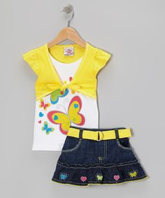 Take a look at this Yellow Butterfly Layered Top & Belted Skirt - Toddler & Girls on zulily today!
