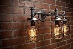 Industrial Lighting - Lighting - Mason Jar Light - Steampunk Lighting - Bar Light - Industrial Chandelier - Wall Light