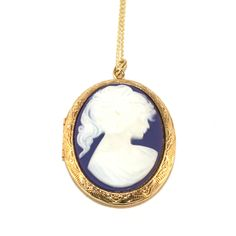 Vintage 1980s Royal Blue and Gold Tone Reproduction Cameo Locket Pendant by TheGemmary on Etsy