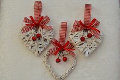 Christmas ornaments. Set of 3 decorative hanging wicker hearts by Wattsyouroccasion on Etsy https://www.etsy.com/listing/167463021/christmas-ornaments-set-of-3-decorative