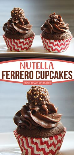 Nutella Ferrero Cupcakes are overloaded with chocolatey goodness from its Ferrero Rocher cupcakes to its Nutella frosting! Plus, it takes 5 ingredients only to make these sweet treats! Save this quick and easy dessert! Easy Cupcake Recipes, Homemade Cake Recipes, Tart Recipes, Best Dessert Recipes, Easy Desserts, Sweet Recipes, Homemade Food, Bread Recipes, Healthy Chocolate