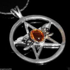 3 Monde Mondgöttinen Wicca Schutz Pentagramm Amulett + Kette 925 Silber pl YY