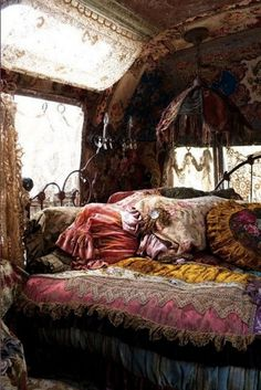 Bohemian Gypsy Style Bedroom You Will Love. Bohemian gypsy style bedroom are hype today. Bohemian word has actually been known for a long time. Initially, the term was used to describe non-tradi. Bohemian Bedrooms, Gypsy Bedroom, Bohemian Interior, Bohemian Design, Dream Bedroom, Bohemian Bedding, Hippie Bedding, Gypsy Wagon Interior, Master Bedroom