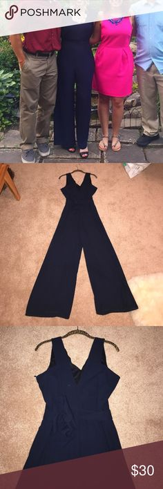 """Zara Navy Blue Jumpsuit *Worn Once* Worn once! I'm 5'3"""" wearing 4 inch heels for length reference Zara Pants Jumpsuits & Rompers"""