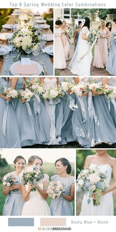 Top 8 Spring Wedding Color Palettes for 2019 Dusty Blue and Blush . Top 8 Spring Wedding Color Palettes for 2019 Dusty Blue and Blush … – Blush Wedding Colors, Blue And Blush Wedding, Dusty Rose Wedding, Dusty Blue Weddings, Spring Wedding Flowers, Wedding Color Schemes, Spring Weddings, Beach Weddings, White Bridal