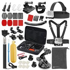 Vanwalk Accessories Kit for Gopro Hero 5 Session 4 3 3 2 1 AKASO EK7000 DBPOWER EX5000 Lightdow LD4000 Sjcam Action Camera  40 Items  * More info could be found at the image url.