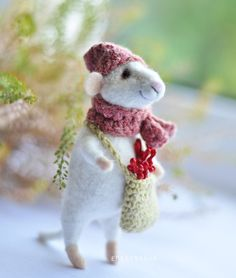Cute Felted Mouse, Mouse With a Hat, Needle Felted Mouse, Felted Mouse, Eco Toy, Sculpture Collectible by EMEREN on Etsy