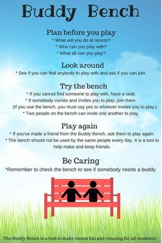 Infographic to use to educate staff and students on how to properly use a buddy bench. The buddy bench was created to help students feel included in activities and make new friends, limiting bullying-type opportunities.
