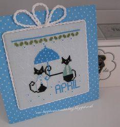April mini cat cross stitch  | Craftsy