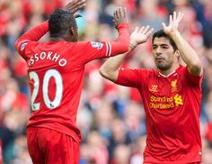 Cissokho and Suarez celebrate the 2nd goal against the Baggies