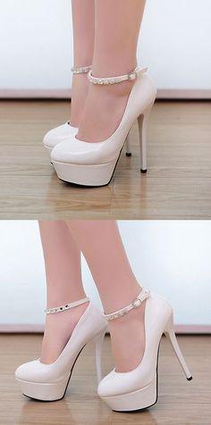 White Crystal Embellished Ankle Strap High Heel Pumps 8e6bf5d68beb