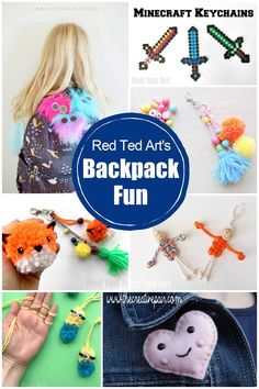 Get Back to School ready with Red Ted Art's super cute and fun Backpack charms and decorations! So many cute ideas here for different skills and abilities! A great way to make your backpack stand out this new school year! Easy Crafts For Kids, Paper Crafts For Kids, How To Make A Pom Pom, How To Make Beads, Craft Fur, Backpack Decoration, Back To School Crafts, Diy Backpack, School Accessories