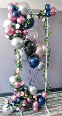 Baby Shower Balloon Decorations, Diy Birthday Decorations, Baby Shower Balloons, Balloon Columns, Balloon Arch, Balloon Designs, Flower Window, Balloon Flowers, Artificial Flowers