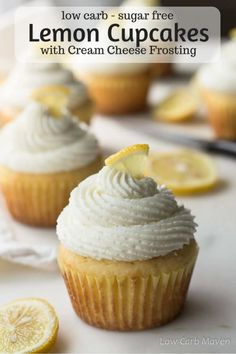 Fluffy sugar-free cupcakes with lemon topped with whipped cream cheese frosting for low carb and keto diets. Fluffy sugar-free cupcakes with lemon topped with whipped cream cheese frosting for low carb and keto diets. Low Carb Cupcakes, Sugar Free Cupcakes, Sugar Free Deserts, Low Carb Deserts, Low Carb Sweets, Sugar Free Recipes, Mini Cupcakes, Diabetic Cupcakes, Fluffy Cupcakes